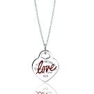Tiffany&Co. 紅色琺瑯Love愛心925純銀項鍊