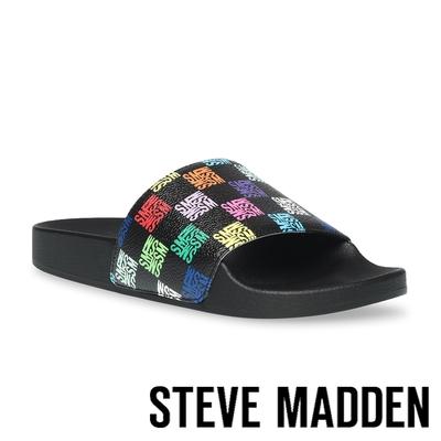 STEVE MADDEN-SEALED 格紋平底拖鞋-黑色