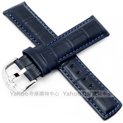 海奕施 HIRSCH Grand duke L小牛皮手錶帶-藍