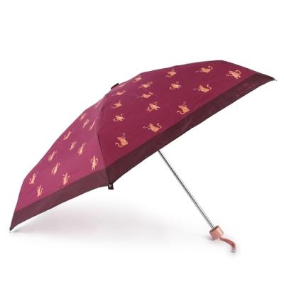 COACH 滿版貓咪印花晴雨傘-紫紅色