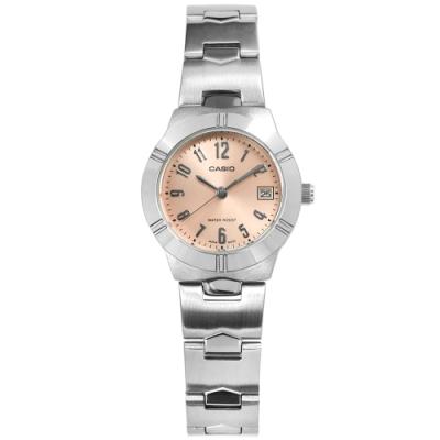 CASIO卡西歐 時尚高雅 阿拉伯數字時標 不鏽鋼手錶 粉橘色 LTP-1241D-4A3 25mm