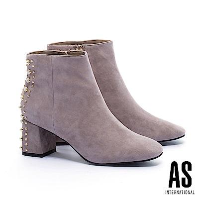 短靴 AS 華麗優美珍珠鉚釘設計麂皮高跟短靴-可可