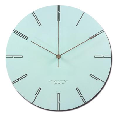 12吋 居家擺飾 輕薄簡約 邊緣數字設計 餐廳客廳臥室 靜音 圓掛鐘 - 藍色