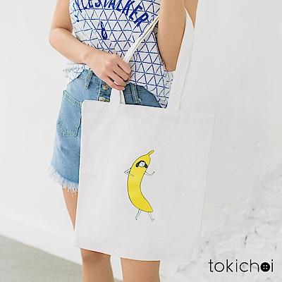 東京著衣 香蕉女孩印花帆布包(共一色)