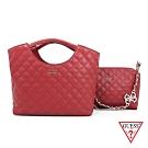 GUESS-女包-菱格壓紋手提肩背子母包-紅