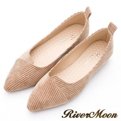 River&Moon韓版燈芯絨造型剪裁素面尖頭鞋-棕