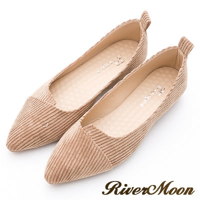 River&Moon韓版燈芯絨造型剪裁素面尖頭鞋-灰