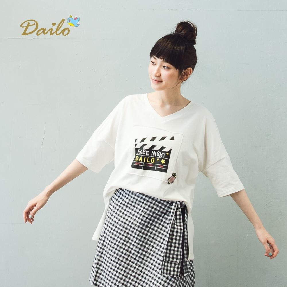 【Dailo】導演喀喳板寬鬆短袖上衣(二色)