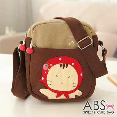 ABS貝斯貓 可愛貓咪手工拼布 小型側背包(咖啡)88-163