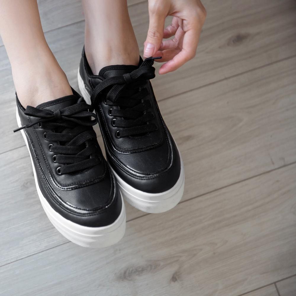 異材質金屬線條拼接皮革厚底鞋-OB大尺碼