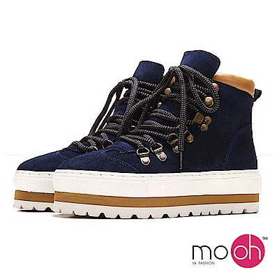 mo.oh-厚底增高牛皮馬丁休閒鞋-深藍色