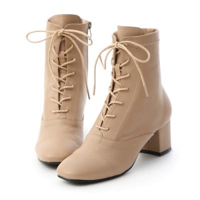 D+AF 優雅宣言.綁帶設計方頭中跟短靴*杏