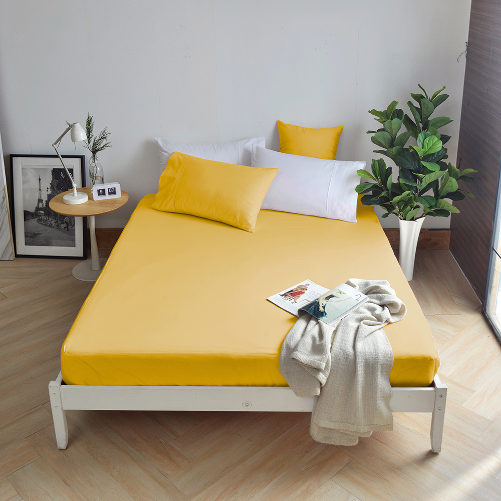 澳洲 Simple Living 加大300織純棉防水透氣床包(活力黃)