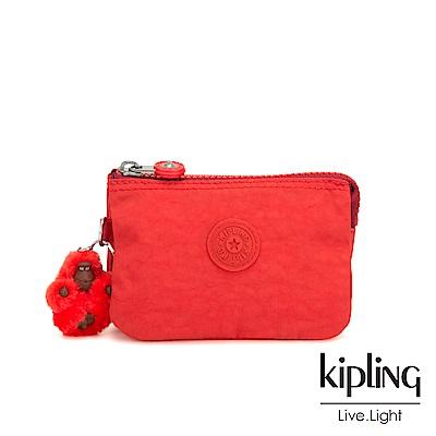 Kipling 珊瑚紅素面三夾層配件包-CREATIVITY S