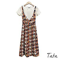 兩件式印花細肩帶長洋裝 共二色 TATA