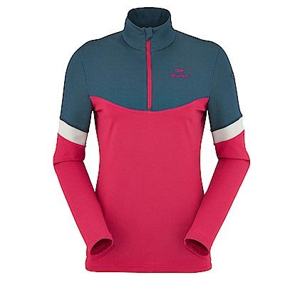 法國【EiDER】女保暖透氣長袖立領衫海藍/桃紅