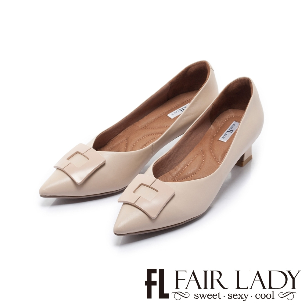 Fair Lady Soft芯太軟 知性幾何方框尖頭塊跟鞋 杏
