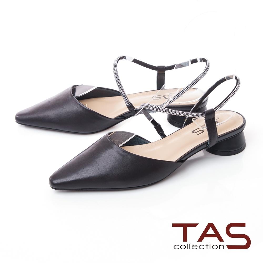 TAS質感羊皮水鑽繫帶尖頭低跟鞋-百搭黑