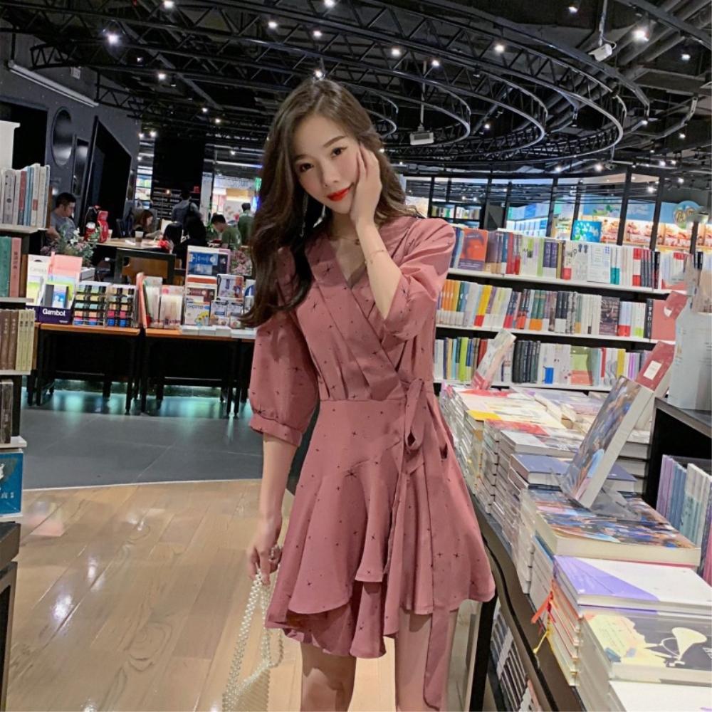 DABI 韓系系腰帶收腰雪紡荷葉邊短袖洋裝