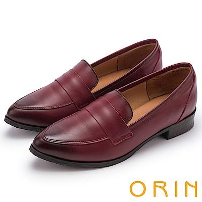 ORIN 懷舊復古學院風 雙色蠟感牛皮樂福鞋-酒紅