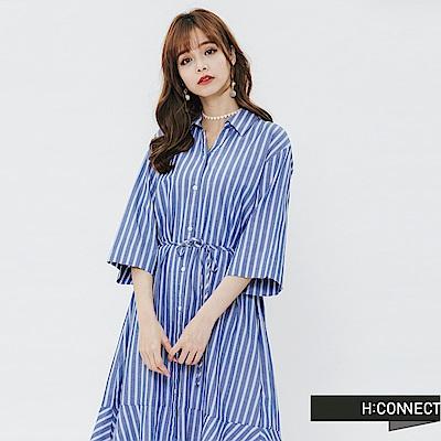 H:CONNECT 韓國品牌 女裝-排扣魚尾襯衫洋裝-藍