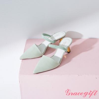 Grace gift-尖頭鬆緊條帶金屬中跟鞋 綠