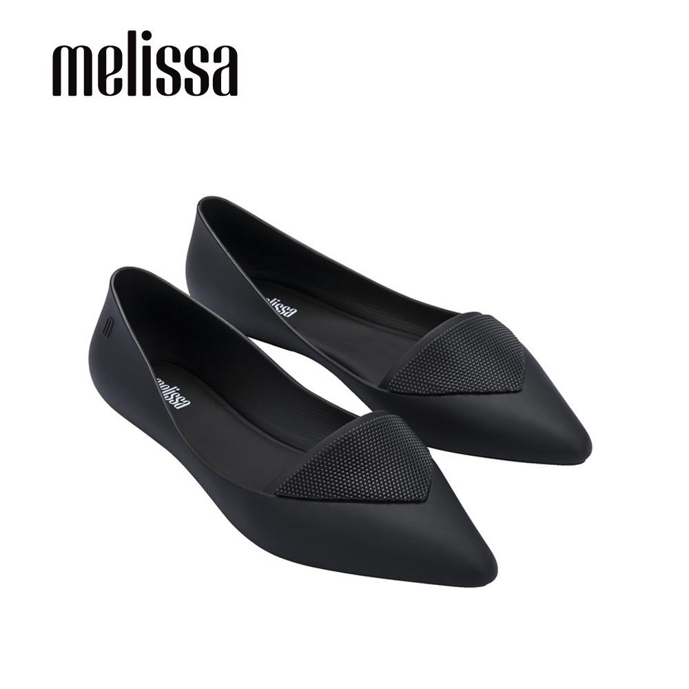Melissa POINTY IV三角裝飾尖頭平底鞋-黑