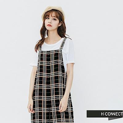 H:CONNECT 韓國品牌 女裝-格紋連身寬褲-黑