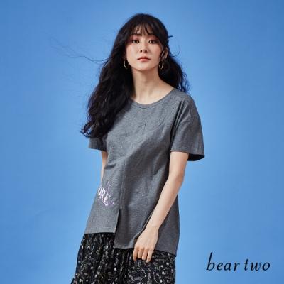 beartwo-標語不規則剪裁上衣-灰