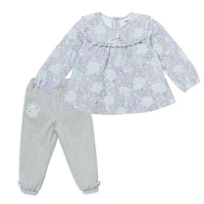 奇哥 俏皮貓藍花繡花套裝 (6-36個月)