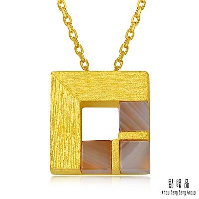 點睛品 G系列 時尚方形幾何瑪瑙方形純金墜子
