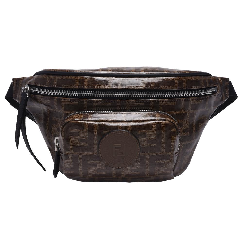 FENDI 品牌FF釉面緹花帆布皮革LOGO貼花拉鍊斜背/腰包(棕)
