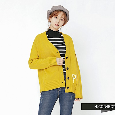H:CONNECT 韓國品牌 女裝-活力亮眼針織外套-黃