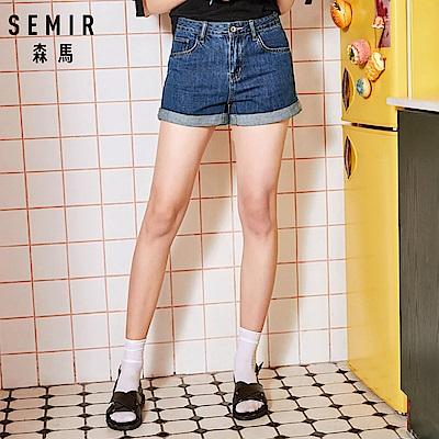 SEMIR-合身顯瘦水洗牛仔反摺短褲-女(2色)