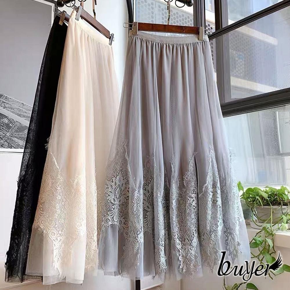 【白鵝buyer】優雅 雙層拼接蕾絲裙(黑色/灰色)