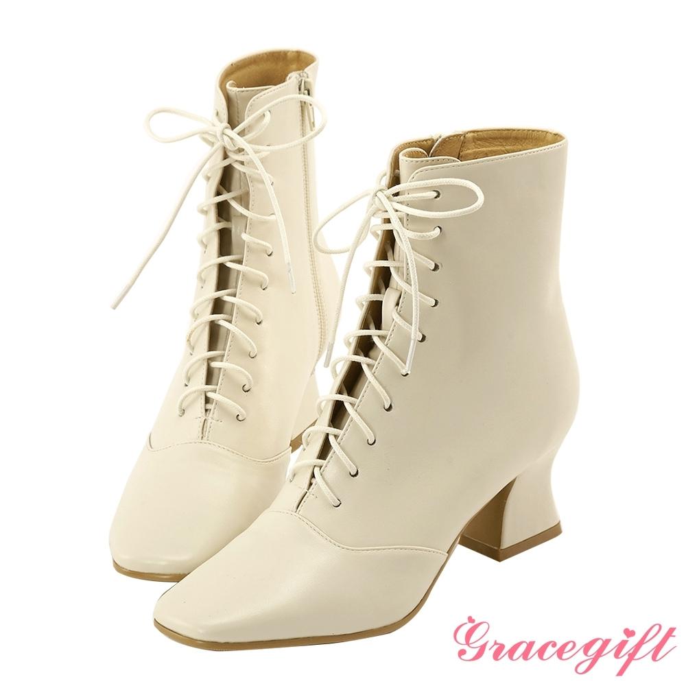 Grace gift X Cos-聯名綁帶造型中跟短靴 米白