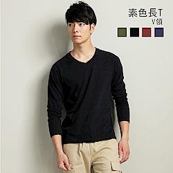 101原創 基本長袖V領素T恤上衣-黑(男女適穿)