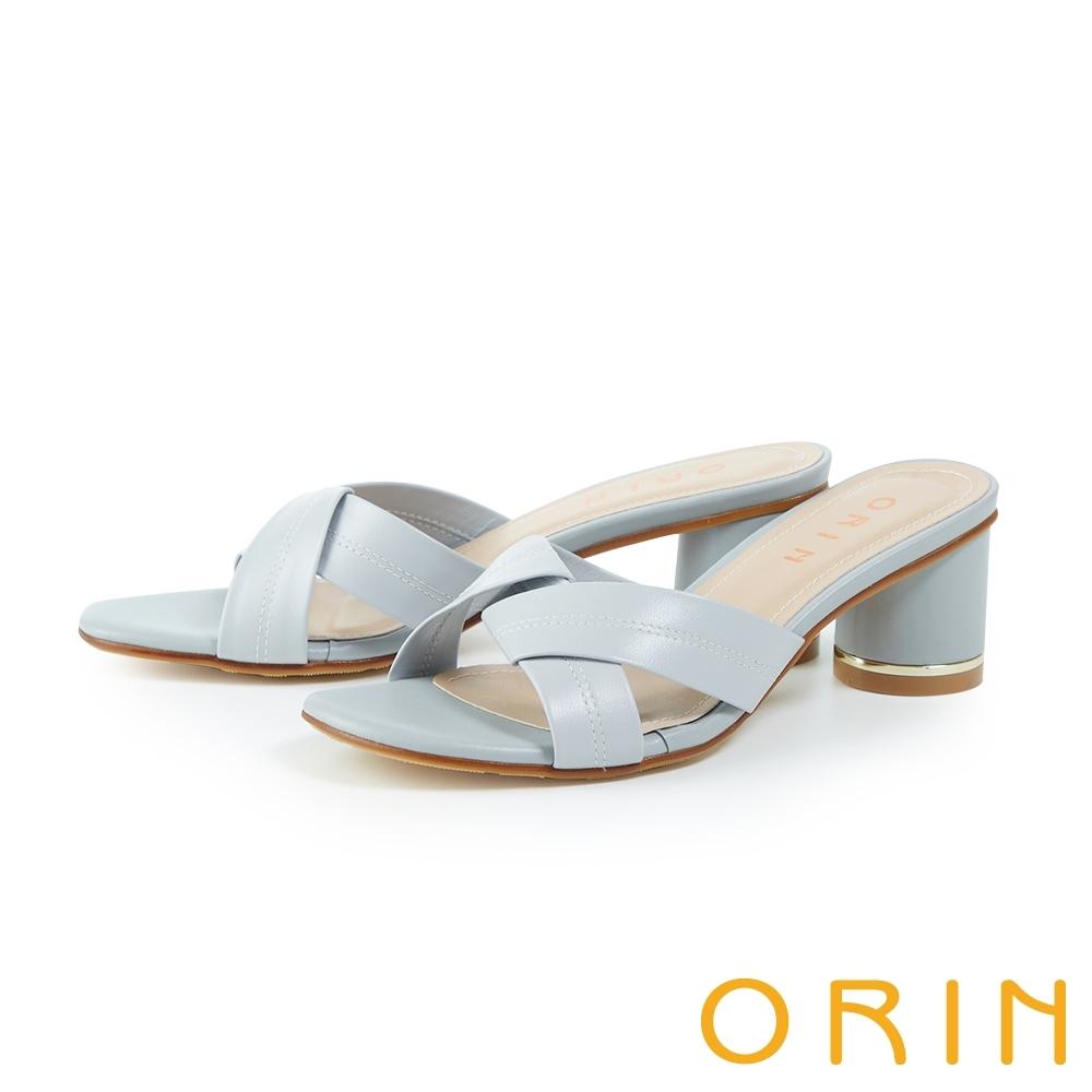 ORIN 牛皮交叉造型圓跟鑲金高跟 女 拖鞋 淺藍