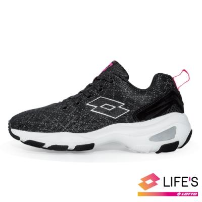 LOTTO 義大利 女 EASY WEAR 增高美型健走鞋 (炫彩黑)