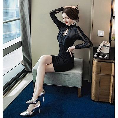 IMStyle 性感翻領網紗拼接洋裝(黑色)