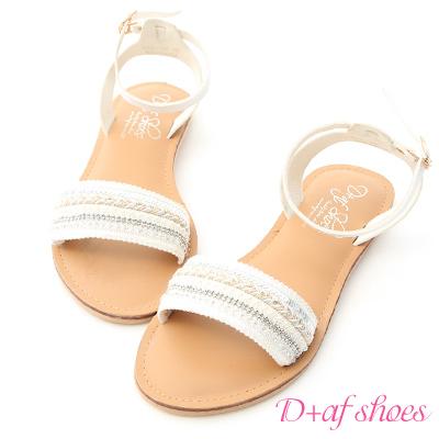 D+AF 異國情調.一字亮片串珠繫踝涼鞋*白
