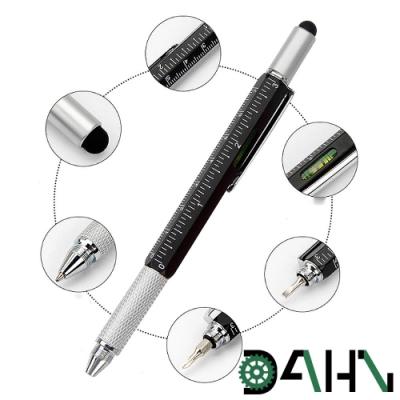DAHN達恩 多功能螺起子/刻度尺/水平儀電容工具筆(黑)