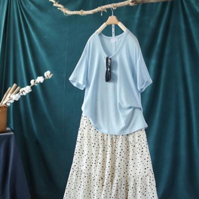 薄版棉麻圓領T恤寬鬆顯瘦內搭短袖上衣-設計所在