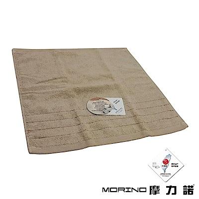 MORINO摩力諾 無撚紗素色典雅方巾/手帕-卡其