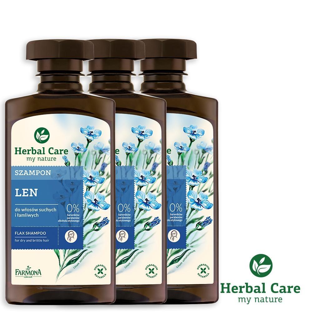 波蘭Herbal Care 亞麻豐盈植萃調理洗髮露(易分岔髮質適用)330ml(3瓶組)