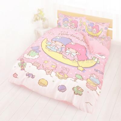 享夢城堡 雙人床包涼被四件組-雙星仙子Little Twin Stars 月光童話-粉
