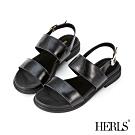 HERLS 完美夏日 全真皮百搭雙寬帶露趾涼鞋-黑色