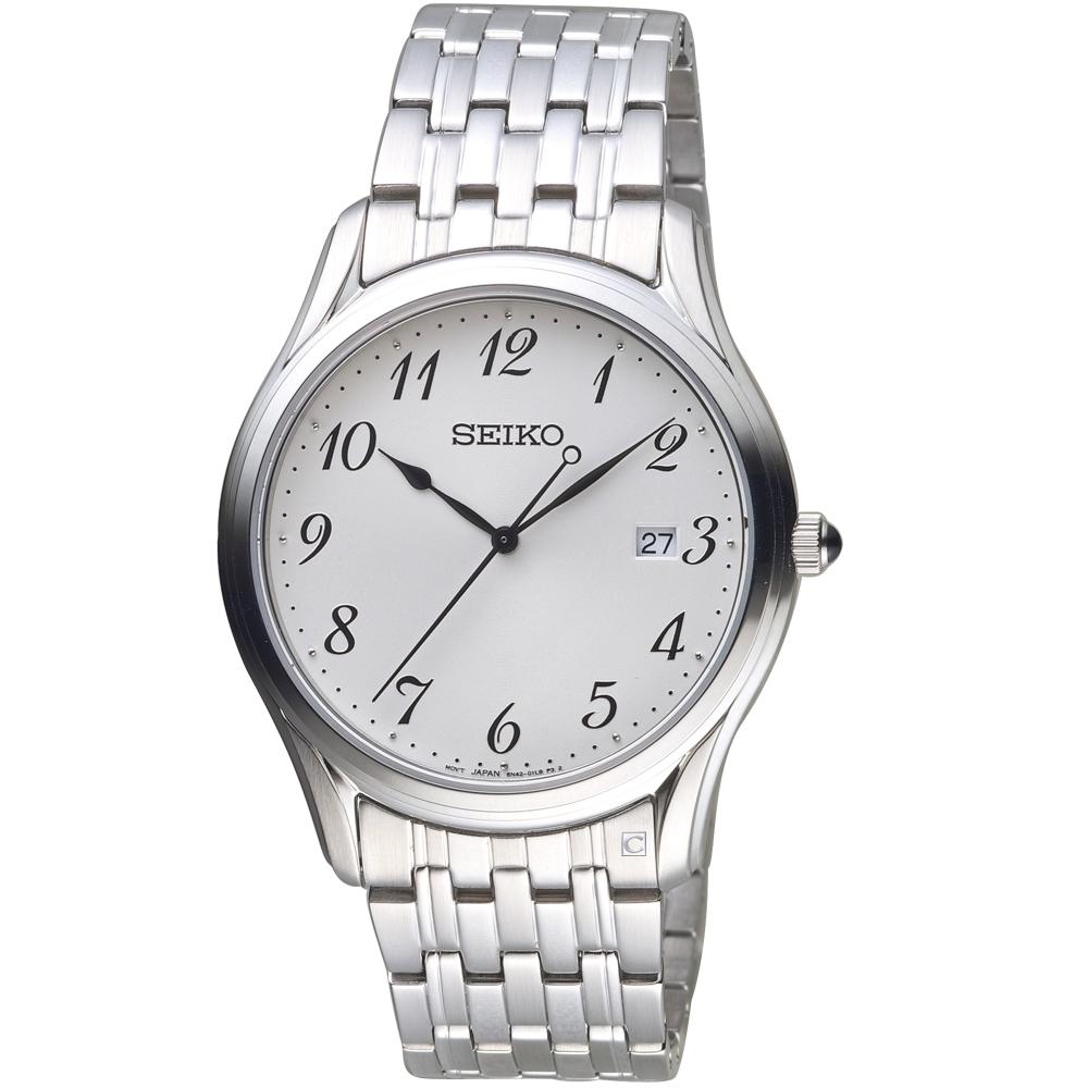 SEIKO精工經典簡約時尚錶(6N42-00K0S SUR299P1)-白