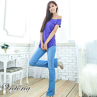 Victoria 彩虹貼鑽靴型褲-女-淺藍