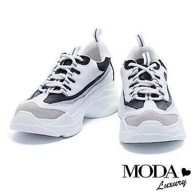 休閒鞋 MODA Luxury 復古潮流異材質拼接厚底休閒鞋-黑